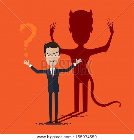 Businessman With Demon Shadow Wall Behind Business Concept Vector illustration in flat cartoon style isolated from the background EPS 10