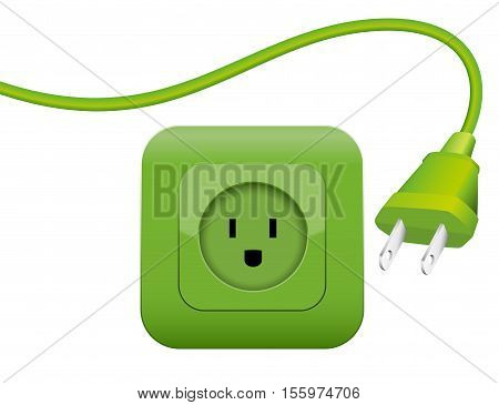 Green plug and socket - clean eco power - green energy - NEMA connector system.