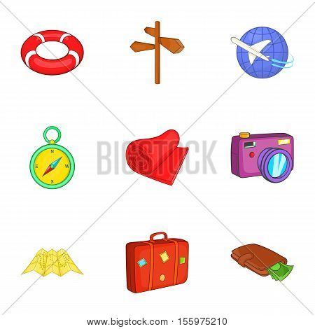 Rest on sea icons set. Cartoon illustration of 9 rest on sea vector icons for web