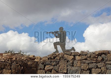 Golan Heights, Israel - October 31, 2016: Sculpture on the Golan Heihts between Israel and Syria. Israel captured the Golan Heights in 1967 war and annexed it in 1981. Its not recognized internationally