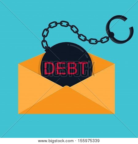 Shackle with inscription debt in an envelope Vector illustration in flat cartoon style isolated from the background EPS 10