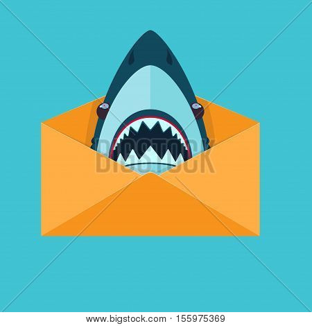 Shark in an envelope Vector illustration in flat cartoon style isolated from the background EPS 10