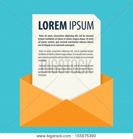 A letter in an envelope Vector illustration in flat cartoon style isolated from the background EPS 10