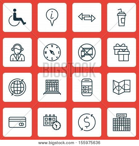 Set Of Transportation Icons On Present, Locate And Crossroad Topics. Editable Vector Illustration. I
