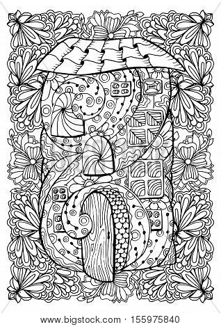 Adult coloring book cover design. Mono color black ink illustration, vector art. Fairy house with open door and floral garden. Vector illustration