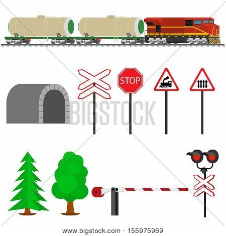 Railroad traffic way and train with tank cars. Railroad train transportation. Railway equipment with signs, barriers, alarms, traffic lights. Flat icons vector illustration.