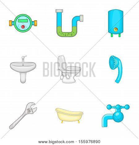 Sanitary appliances icons set. Cartoon illustration of 9 sanitary appliances vector icons for web