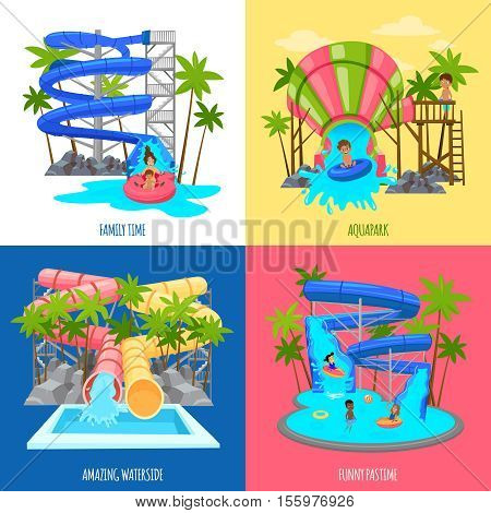 Aquapark design concept with water slides tubes pools for amusement of children and family isolated vector illustration poster