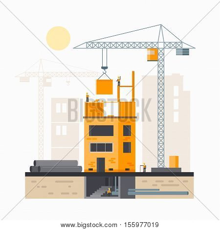 Image of a house under construction. Building design, construction and crane.