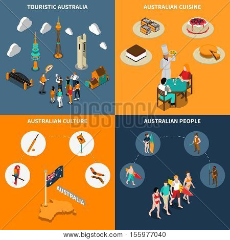 Australian culture for travelers 4 isometric icons square poster with  guided city tours and cuisine isolated vector illustration
