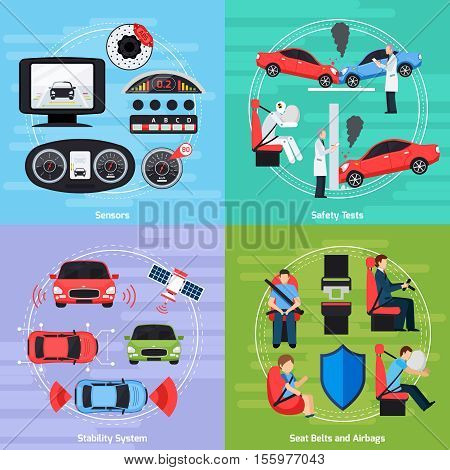 Car safety systems template with crash tests and equipment of auto conditions control isolated vector illustration