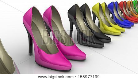 Women's high heeled shoes standing in a row. Multicolored women's shoes with high heels standing in a row on a white surface. 3D Illustration. Isolated