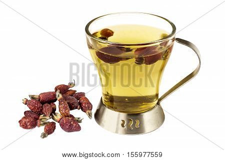 Useful tea with dried fruits rosehip (Rosa majalis) isolated on a white background. Used in healthy nutrition and herbal medicine