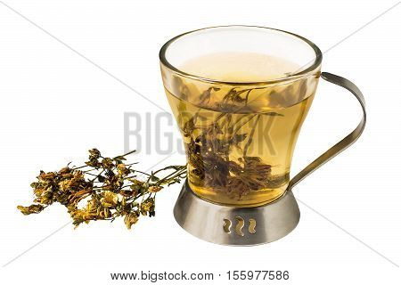 Useful tea with dried flowers Saint-John's-wort (Hypericum) isolated on a white background. Used in healthy nutrition and herbal medicine
