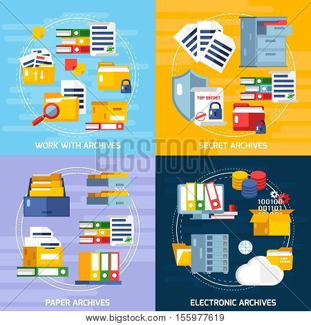 Archive concept icons set with electronic and paper archives symbols flat isolated vector illustration