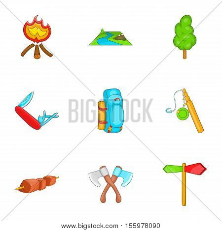 Campground icons set. Cartoon illustration of 9 campground vector icons for web