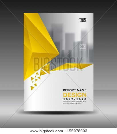 Cover design Annual report vector illustration, business brochure flyer template, book cover, yellow cover advertisement template
