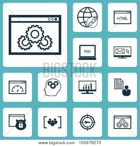 Set Of Marketing Icons On Digital Media, Connectivity And Keyword Marketing Topics. Editable Vector