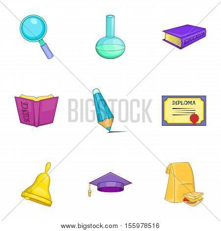 University icons set. Cartoon illustration of 9 university vector icons for web