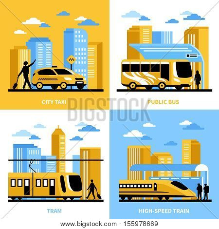 City transportation 2x2 design concept with public bus tram taxi and high speed train compositions flat vector illustration