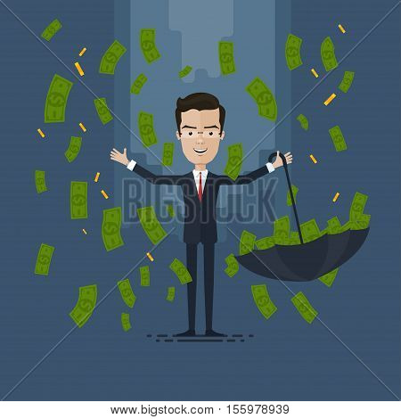 businessman or manager in the rain of money Vector illustration in flat cartoon style isolated from the background EPS 10