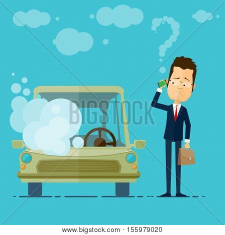 A businessman or manager car broke down calls for service Vector illustration in flat style isolated from the background EPS 10