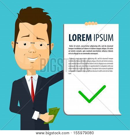 Business man or manager holds in his hand a declaration and money Vector illustration in flat cartoon style isolated from the background EPS 10