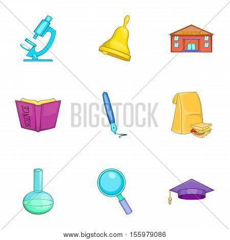 High school icons set. Cartoon illustration of 9 high school vector icons for web