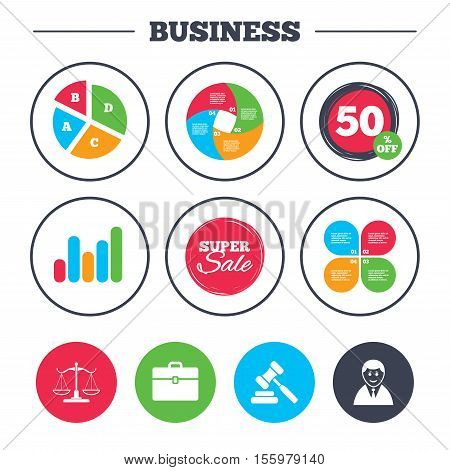 Business pie chart. Growth graph. Scales of Justice icon. Client or Lawyer symbol. Auction hammer sign. Law judge gavel. Court of law. Super sale and discount buttons. Vector
