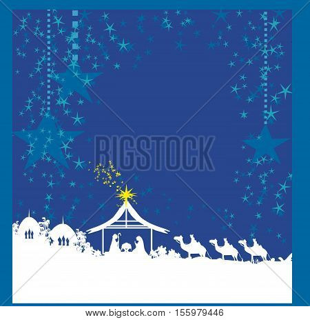 birth of Jesus in Bethlehem card , vector illustration