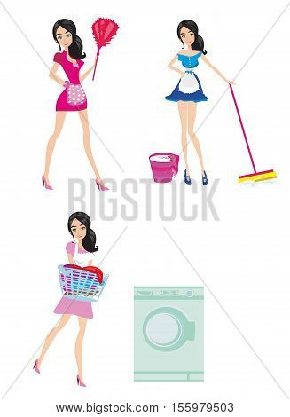 Sexy pinup style french maid at work - Set , vector illustration