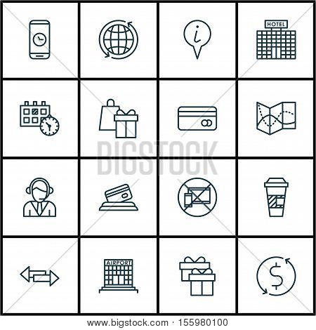 Set Of Airport Icons On Appointment, Info Pointer And Takeaway Coffee Topics. Editable Vector Illust