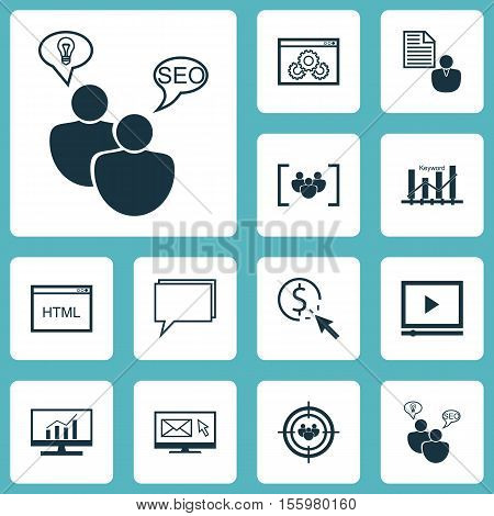 Set Of Advertising Icons On Seo Brainstorm, Questionnaire And Focus Group Topics. Editable Vector Il