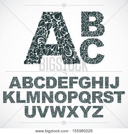 Floral Font, Hand-drawn Vector Capital Alphabet Letters Decorated With Botanical Pattern. Black And