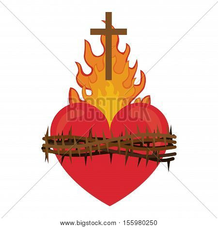 red heart with fire flames and thorns. religious symbol. colorful design. vector illustration