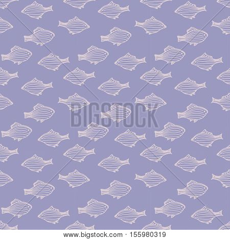 seamless pattern with striped fishes. hand drawn Fishes. lilac background