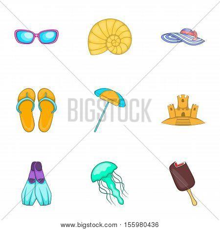 Coast icons set. Cartoon illustration of 9 coast vector icons for web