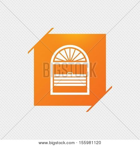 Louvers plisse sign icon. Window blinds or jalousie symbol. Orange square label on pattern. Vector