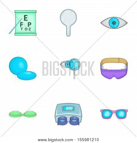 Ophthalmology icons set. Cartoon illustration of 9 ophthalmology vector icons for web