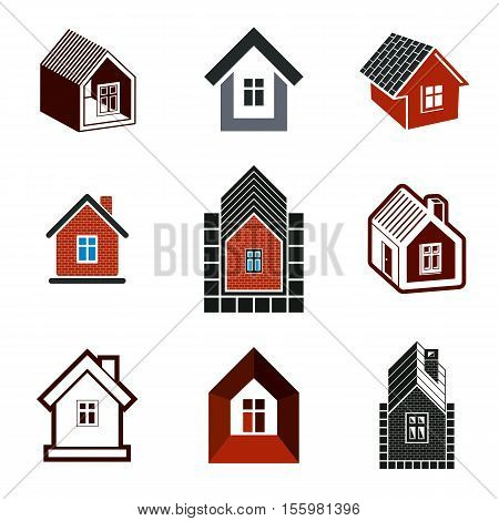 Different houses vector icons for use in graphic design set of mansion conceptual symbols abstract property images. Real estate business abstract emblems collection.