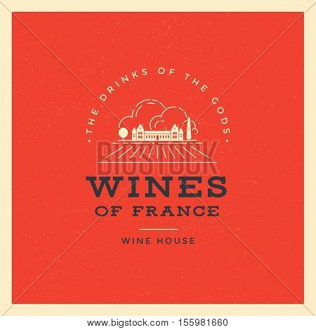 Wine list vector template logo or design element of the house wine. French wine.