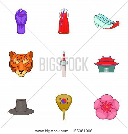 Stay in South Korea icons set. Cartoon illustration of 9 stay in South Korea vector icons for web