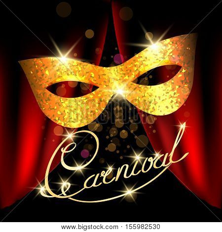 Poster with Golden Carnival Mask and Hand writen inscription Carnival. Masquerade, Mardi Gras Night Party Poster or Banner design element. vector illustration.