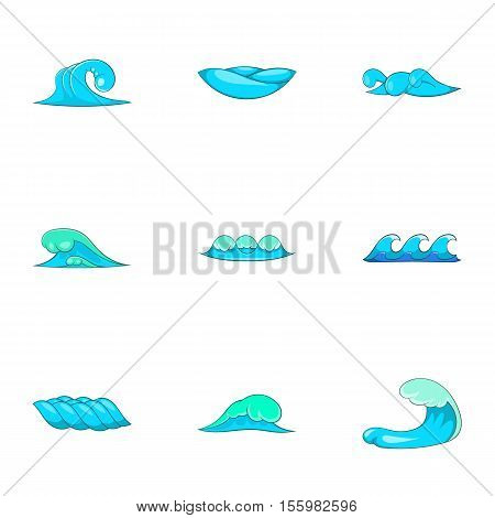 Ocean waves icons set. Cartoon illustration of 9 ocean waves vector icons for web