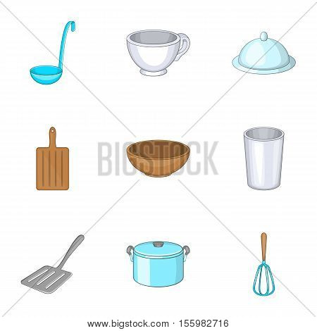 Kitchenware icons set. Cartoon illustration of 9 kitchenware vector icons for web