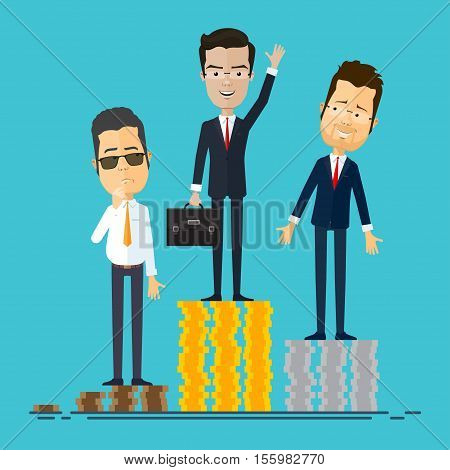 A businessman or manager of the winner on the podium Vector illustration in flat cartoon style isolated from the background EPS 10