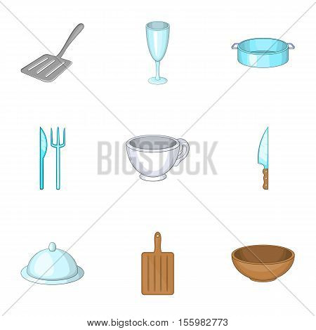 Dining items icons set. Cartoon illustration of 9 dining items vector icons for web