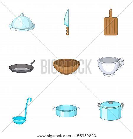 Kitchen utensils icons set. Cartoon illustration of 9 kitchen utensils vector icons for web