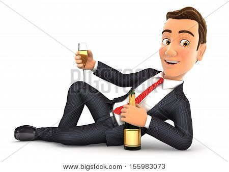 3d businessman lying on the floor with champagne illustration with isolated white background