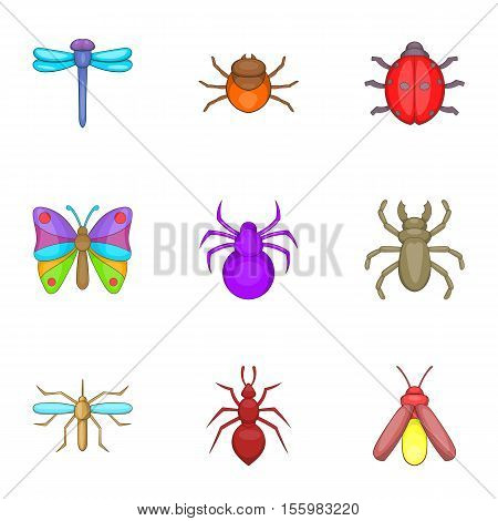 Varieties of insects icons set. Cartoon illustration of 9 varieties of insects vector icons for web